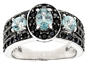 Blue Zircon Sterling Silver Ring 2.26ctw