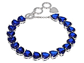 Blue Lab Created Spinel Sterling Silver Bracelet 30.68ctw