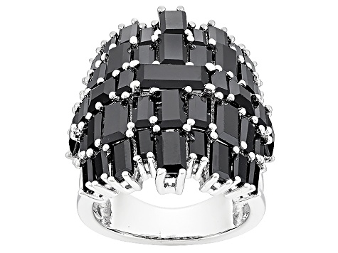 Black Spinel Sterling Silver Ring 10.92ctw