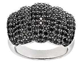 Black Spinel Sterling Silver Ring 3.13ctw