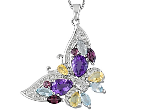 Multi-Gem Sterling Silver Butterfly Pendant With Chain 6.22ctw