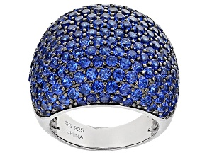 Blue Lab Created Spinel Sterling Silver Ring 7.67ctw