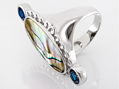 Multicolor Abalone Shell Sterling Silver Ring 1.03ctw