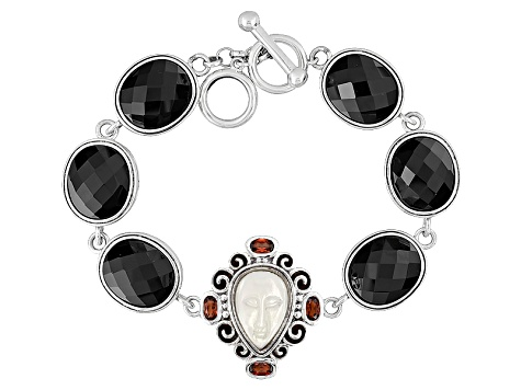 White Carved Mother Of Pearl Sterling Silver Bracelet 1.09ctw