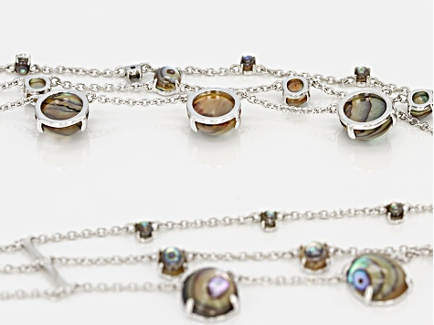 Multicolor Abalone Shell Sterling Silver Necklace
