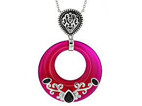 Pink Onyx Sterling Silver Necklace 1.61ctw