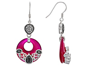 Pink Onyx Sterling Silver Dangle Earrings 2.04ctw