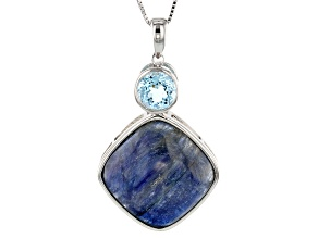 Blue Kyanite Sterling Silver Pendant With Chain 2.12ctw
