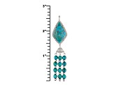 Blue Turquoise Sterling Silver Tassel Pendant With Chain