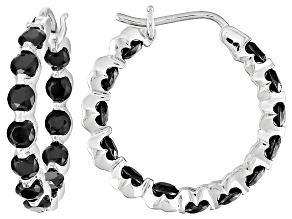Black Spinel Sterling Silver Hoop Earrings 3.12ctw