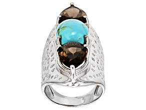 Blue Turquoise Sterling Silver Ring 8.30ctw