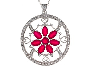 Pink Onyx Sterling Silver Pendant With Chain .35ctw