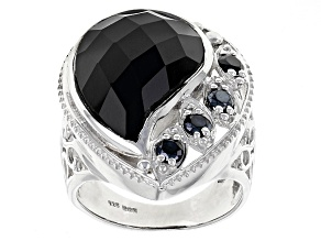Black Onyx Sterling Silver Ring .46ctw