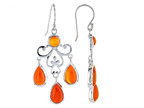 Orange Carnelian Sterling Silver Earrings