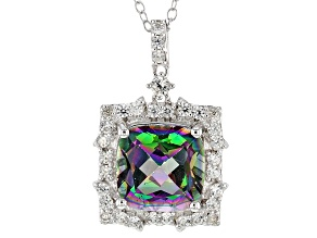 Multicolor Topaz Sterling Silver Pendant With Chain 5.30ctw