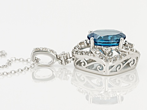 London Blue Topaz Sterling Silver Pendant With Chain 3.43ctw