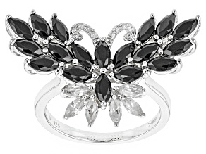 Black Spinel Sterling Silver Butterfly Ring 2.29ctw