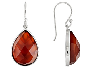 Orange Carnelian Sterling Silver Teardrop Earrings