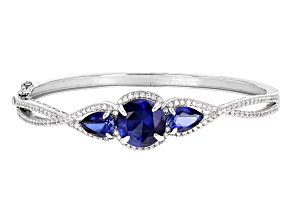 Blue Sapphire Sterling Silver Hinged Bangle Bracelet 11.79ctw