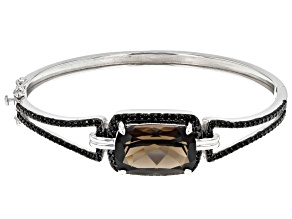 Brown Smoky Quartz Rhodium Over Sterling Silver Hinged Bangle Bracelet 13.52ctw