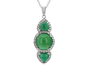 Green Onyx Sterling Silver Pendant With Chain .44ctw