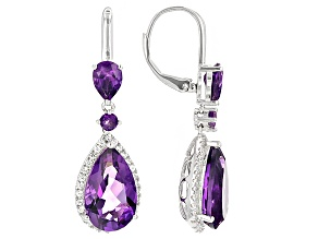 Purple Amethyst Sterling Silver Dangle Earrings 9.70ctw