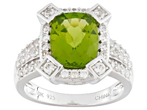 Green Peridot Sterling Silver Ring 3.43ctw