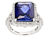 Blue Lab Created Sapphire And White Zircon Sterling Silver Ring 9.24ctw