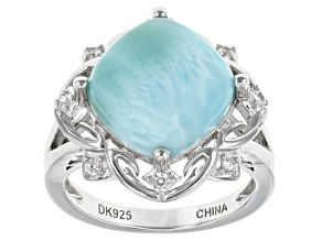 Blue Larimar Sterling Silver Ring .17ctw