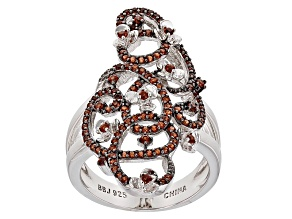 Red Garnet Sterling Silver Ring .43ctw