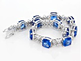 Blue Lab Created Spinel Sterling Silver Bracelet 50.28ctw