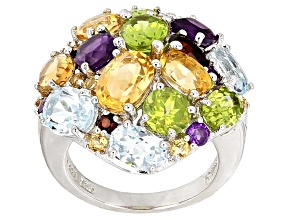 Multi-Gem Sterling Silver Ring 7.64ctw