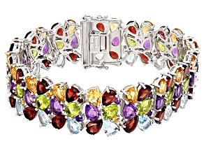 Multi-Gem Sterling Silver Bracelet 74.80ctw