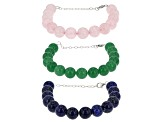 Multi-Gem Sterling Silver Bead Bracelets Set Of 3
