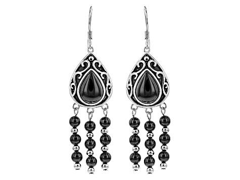 Black Spinel Sterling Silver Chandelier Earrings 11 22ctw