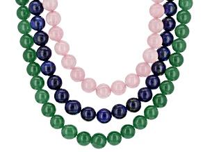 Multi-Gem Sterling Silver Bead Necklace Set Of 3