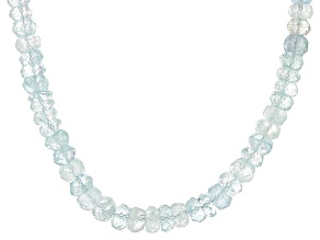Blue Aquamarine Sterling Silver Bead Necklace 120.00ctw
