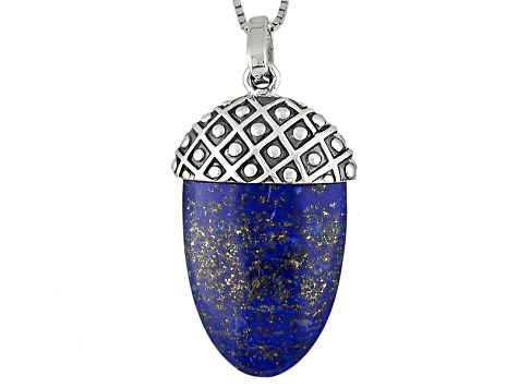 Blue Lapis Luzuli Sterling Silver Acorn Pendant With Chain