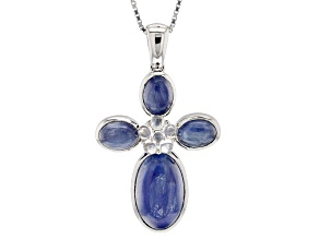 Blue Nepalese Kyanite Sterling Silver Cross Pendant With Chain