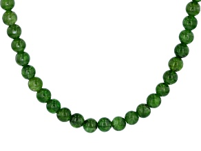 Green Russian Chrome Diopside Bead Strand Silver Necklace 108.00ctw