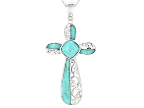 Blue Amazonite Sterling Silver Cross Enhancer With Chain
