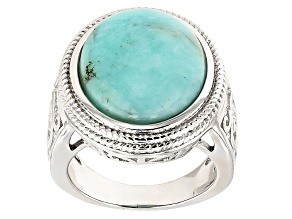 Green Amazonite Sterling Silver Solitaire Ring