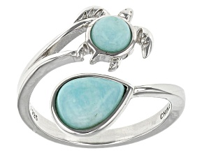 Blue Amazonite Rhodium Over Sterling Silver Turtle Ring