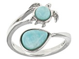 Blue Amazonite Sterling Silver Turtle Ring