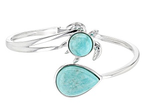 Green Amazonite Sterling Silver Turtle Bypass Bangle Bracelet