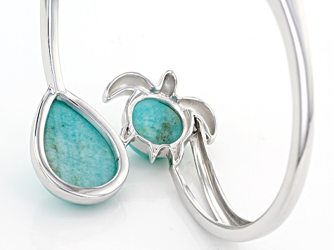 Blue Amazonite Sterling Silver Turtle Bypass Bangle Bracelet