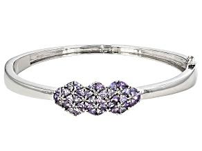 Blue Tanzanite Sterling Silver Bangle Bracelet 4.1ctw