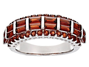 Red Garnet Sterling Silver Band Ring 2.98ctw