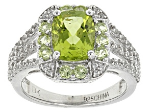 Green Peridot Sterling Silver Ring 3.65ctw