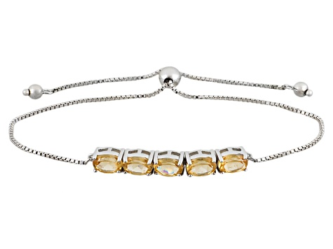 Golden Hessonite Sterling Silver Sliding Adjustable Bracelet 3.78ctw